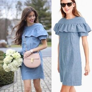 J. Crew Edie Ruffle Chambray Dress 10